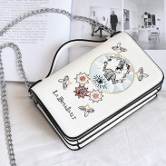 Mini bolso de hombro bordado cadena de metal de dibujos animados lindo