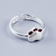 Kitty lindo anillo abierto de plata joyería hecha a mano gato precioso anillo de niñas gatito