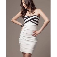 Vestido a rayas blanco y negro a rayas cruzadas a rayas sexy