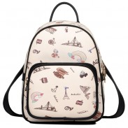 Mochila de mujer de estilo británico de dibujos animados Mini mochila de viaje de colegio mundial