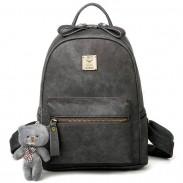 Patrón de Lichee PU helada de la muchacha simple Mochila retro de la muñeca del oso mochila colgante Ocio mochila escolar