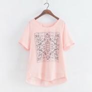 Patrón geométrico sólido fresco causal camiseta de manga corta suelta