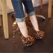 Sexy Leopardo súper Tacón alto Zapatos