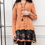 Vestido de suéter de la capa de la flor del modelo de la torsión del cordón de la floja del invierno