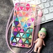 Moda Multicolor Geometría Patrón de triángulo IPhone 6 / 6p casos suaves
