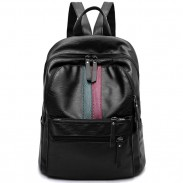 La raya verde roja de la muchacha retro bloqueando la mochila escolar de la capacidad grande mochila negra del viaje de la PU