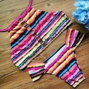 Conjunto de bikini de vendaje de impresión Wommen Stripe traje de baño de traje de baño