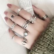 Rhinestone de la vendimia nudillo llano de plata tailandesa pocos anillos abiertos