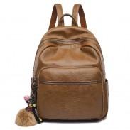 Mochila de estudiante suave del bolso de la escuela de la PU del estilo británico marrón simple retro del estudiante
