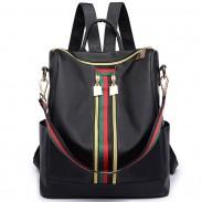 Bolso multifuncional único del bolso de la mochila verde de la raya doble de la muchacha de la cremallera roja de la PU