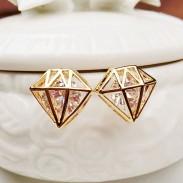 Joyería Hueco Geométrico Diamante Embutido Circón dama Aretes