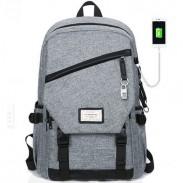 Ocio gris grande a prueba de agua bolso de la lona de viaje interfaz USB mochila estudiante