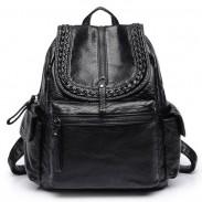 Cool PU suave cuero lavado estilo británico negro Weave cuero mochilas