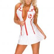 Cosplay de mujer sexy Ropa interior de enfermera profunda en V-uniforme