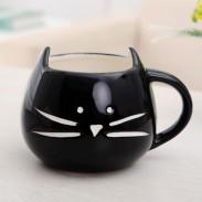 Taza de cerámica de los pares lindos de la historieta del gato / taza