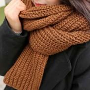 Bufanda de punto caliente de color sólido estudiante Bufanda de punto grueso de lana gruesa
