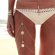 Retro Beach Harness Jewelry Stretchy 2 Tier Pierna muslo cuerpo aleación cadena