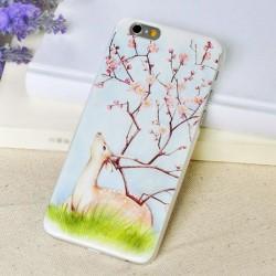 Estuches suaves de IPhone 5 / 5s / 6 / 6p de alivio de flor de ciruelo fresco del arte