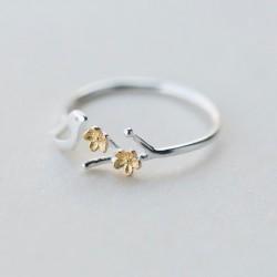 Bonito anillo de plata abierto con pájaro hueco, regalo de joyería para anillo de niña anillo de rama de hoja de flor dorada