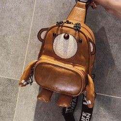 Cute Cartoon Bear Shape Multi-function Lady PU Messenger Bags Shoulder Bag