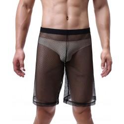 Calzoncillos bóxer holgados sexis Calzoncillos de malla transparente Troncos Ver a través de pantalones cortos de cintura alta Lencería para hombres