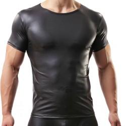 Hombres Sexy Negro Camiseta ajustada de manga corta con aspecto mojado Ropa interior de clubwear PVC Camisetas sin mangas de cuero con músculos