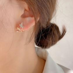 Pendientes de mariposa doble de cristal de moda Clips Pendientes de plata de animales Pernos prisioneros