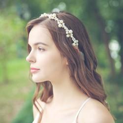 Accesorios para el cabello de novia con diadema de perlas de dama de honor hecha a mano dulce