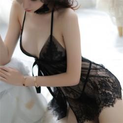 Camisón de malla de encaje sexy con perspectiva de lazo Pijama de encaje de honda Lenceria mujer