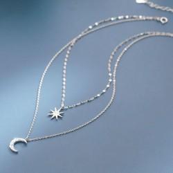 Collar de plata de mujer de cristal de doble capa de estrella y luna de ocho puntas único