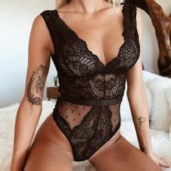 Lencería sexy de encaje negro hueco de malla combinada de las mujeres