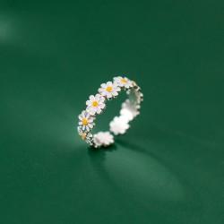 Dulce verano flor empalme anillo de plata compromiso joyería de dedo regalos para su anillo de girasol