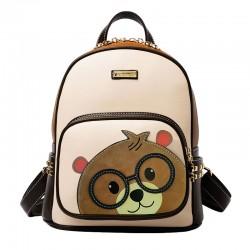 Mochila escolar linda del remache del oso de la historieta para la mochila del bolso del libro del estudiante de la muchacha