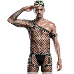 Sexy Body de rejilla ahuecado Trajes de cosplay Bodystocking Lencería de leotardo de camuflaje para hombres