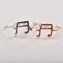 Bonito anillo de nota musical ajustable para amantes de la música regalo clave musical anillo de plata abierto para mujer