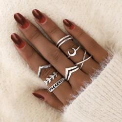 Lindo anillo personalizado con forma de cruz de luna para el dedo meñique, conjunto de 7 piezas de hoja retro de moda