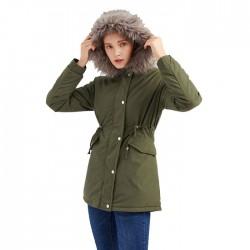 Moda cuello de piel espesar algodón de longitud media con capucha invierno cálido más abrigo de terciopelo abrigo de mujer