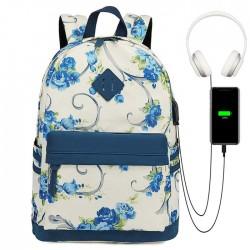 Fresh Flower Vine Rose Trunk Oxford Campus Student School Bag Backpack