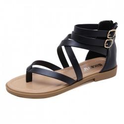 Nuevas sandalias romanas de las mujeres de los zapatos del verano de las cremalleras planas de la playa de la hebilla doble