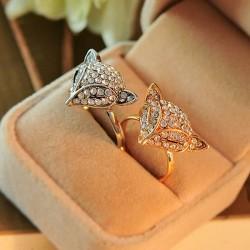 Les animaux de la mode Fox Head brillent les anneaux des femmes