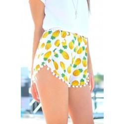 Bolas pequeñas con estampado de piña Pantalones cortos con flecos y gasa con cintura elástica