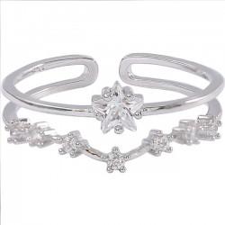 Lindo anillo con doble estrella de flor con circonitas abiertas de plata para mujer