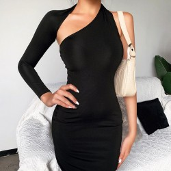Fashion Single Long Sleeve Irregular Black Party Long Dress