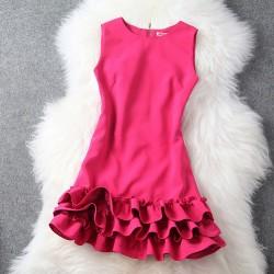 Elegante vestido de color puro princesa burbuja con volantes