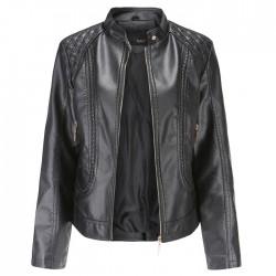 Elegante cuero temperamento mangas largas cuello alto PU chaqueta de cuero abrigo