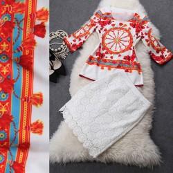 Traje de falda floja del cordón de la impresión de la camisa floral del ancla