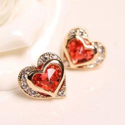 Maravilloso Cristal Diamante de imitación Corazón Conformado Semental Aretes