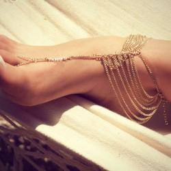 Nuevas mujeres cadena multicapa sandalias descalzas Toe nupcial del anillo del dedo del pie
