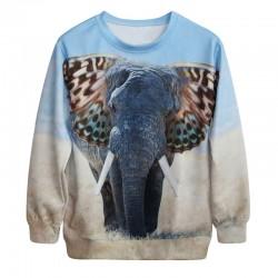 Lindo 3D Elefante Gradiente Impresión Sudaderas