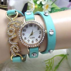 Amor Diamante de imitación Entrelazar Pulsera Reloj